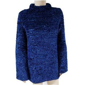 Missoni Blue Metallic SweaterTunic MockNeck Mohair
